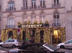 Givenchy boutique with Christmas decor