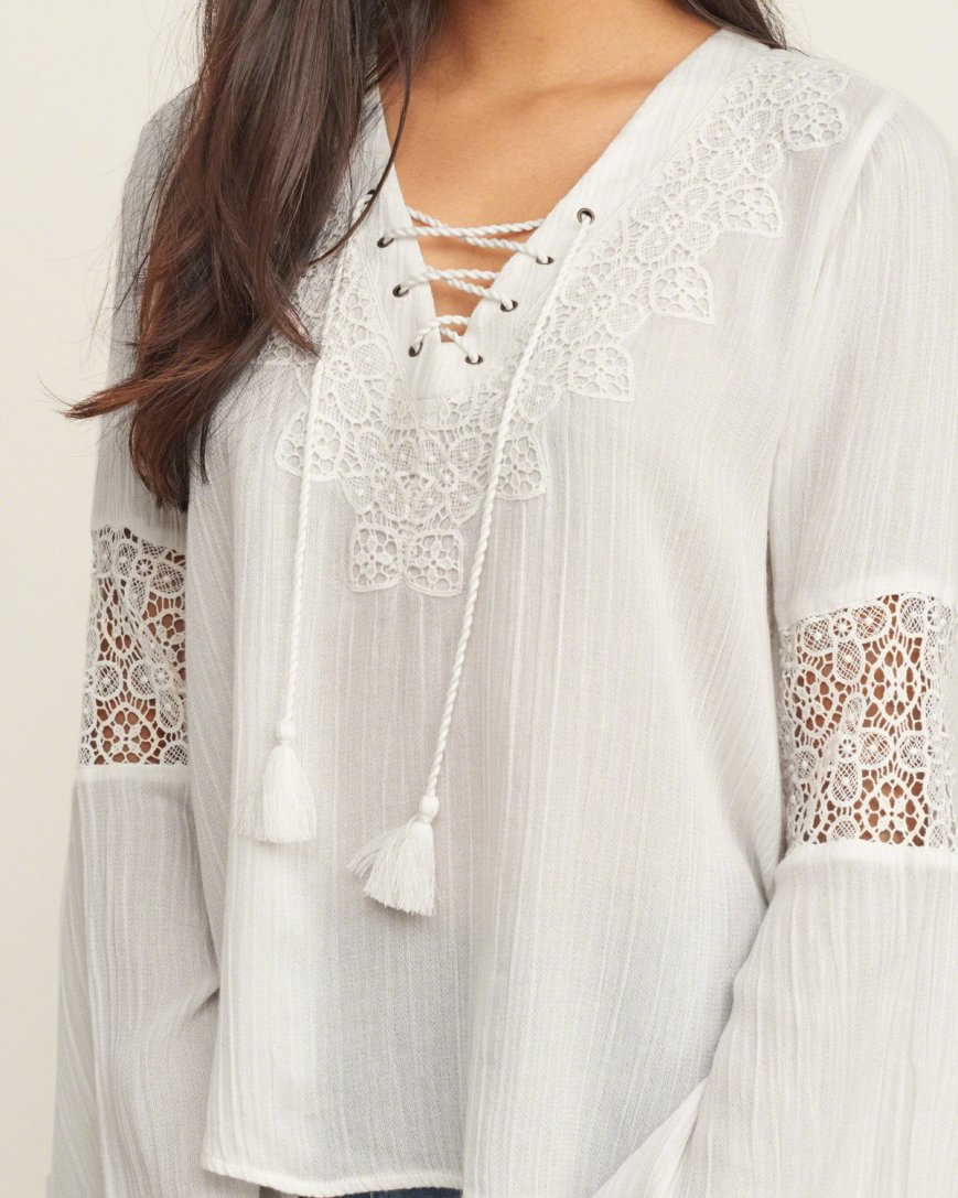 A&F Lace Up Peasant Top