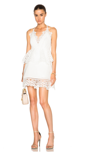 LACE TRIM PEPLUM DRESS front