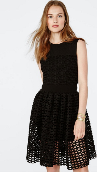 Maje Restano Black puffball dress with Guipure lace