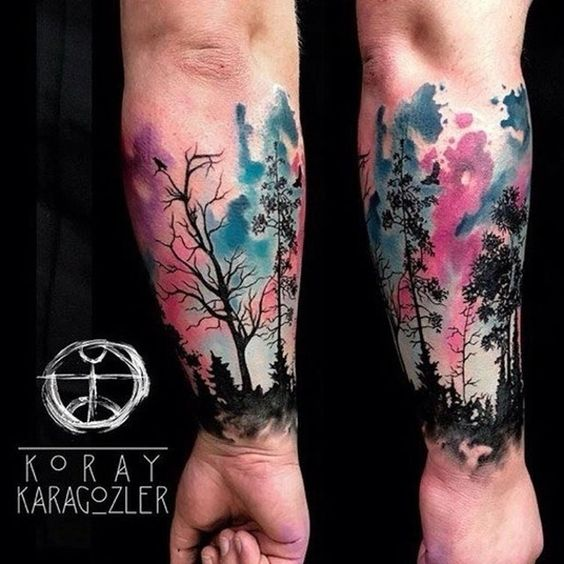 watercolor-tattoo-forest