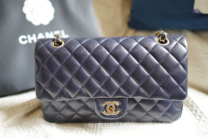 Midnight blue Chanel double flap bag
